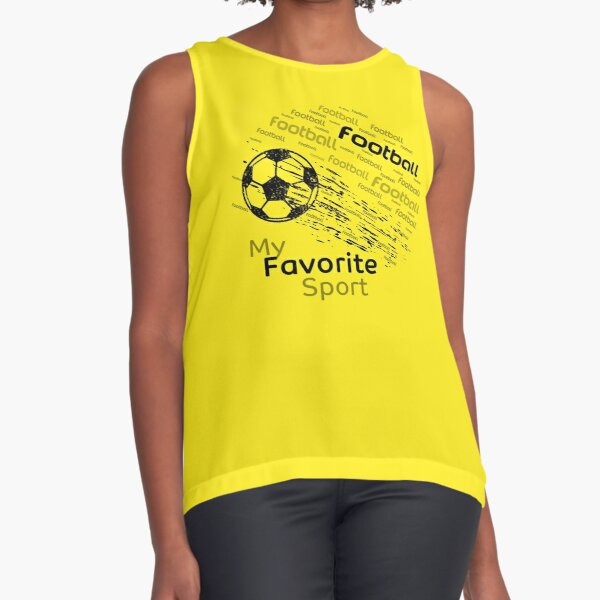 football is my favorite sport flying ball yellow & all colors Sleeveless Top