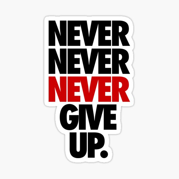 NEVER NEVER NEVER GIVE UP. Sticker