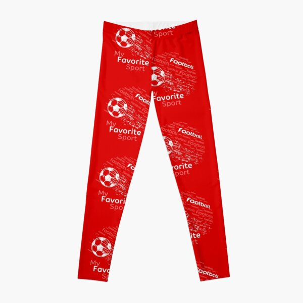 football is my favorite sport flying ball red & all colors Leggings