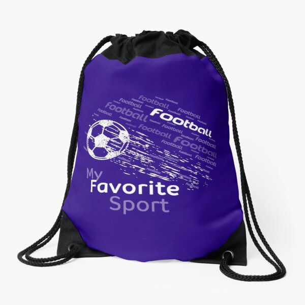 football is my favorite sport flying ball navy blue & all colors Drawstring Bag