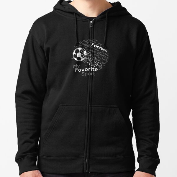 football is my favorite sport flying ball black & all colors Zipped Hoodie