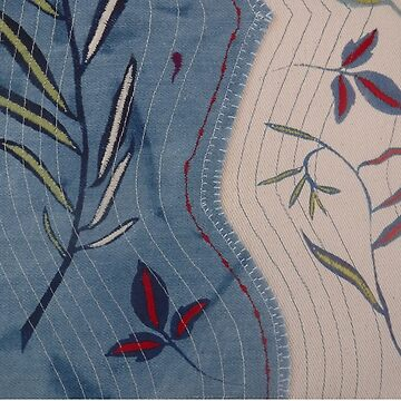 Willow and Clematis Leaves. Print of embroidered textile by Jackie Wills by jackiewills