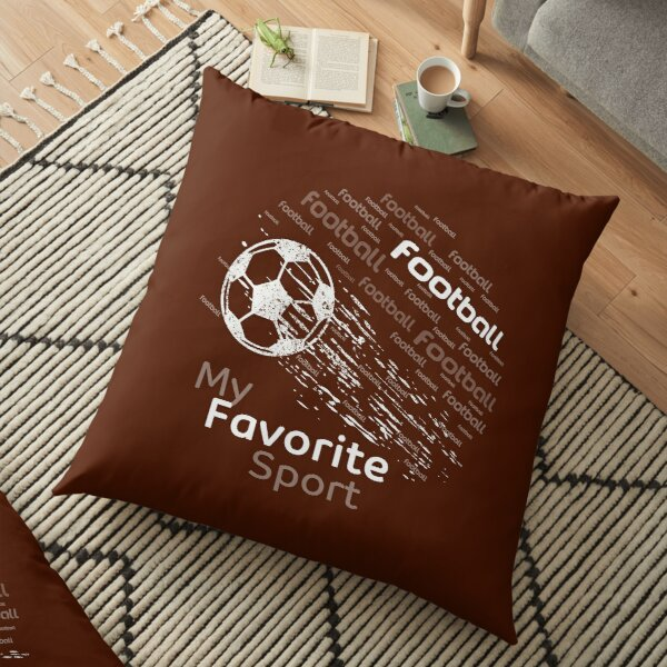 football is my favorite sport flying ball brouwn & all colors Floor Pillow