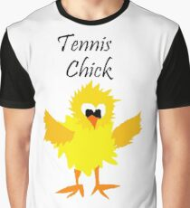 Cool Funny Tennis Chick Cartoon Graphic T-Shirt