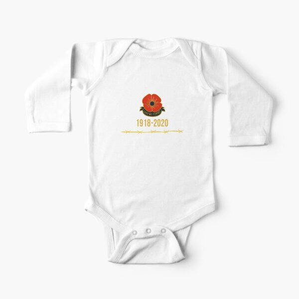 Remembrance Day Lest We Forget 1918-2020 (armistice day, poppy day) Long Sleeve Baby One-Piece