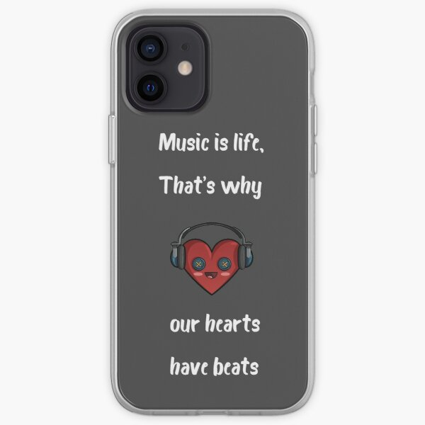 Music is life, that's why our hearts have beats iPhone Soft Case