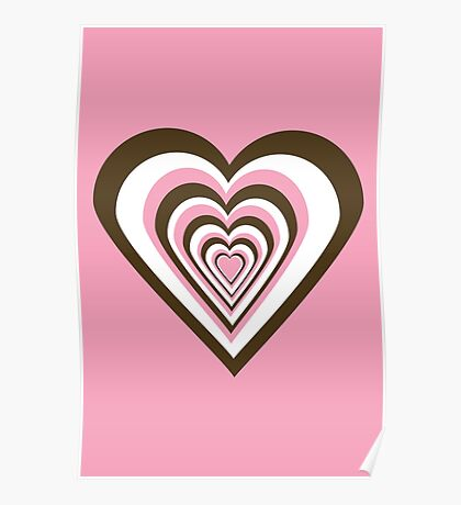 Pink, Brown and White Hearts Poster