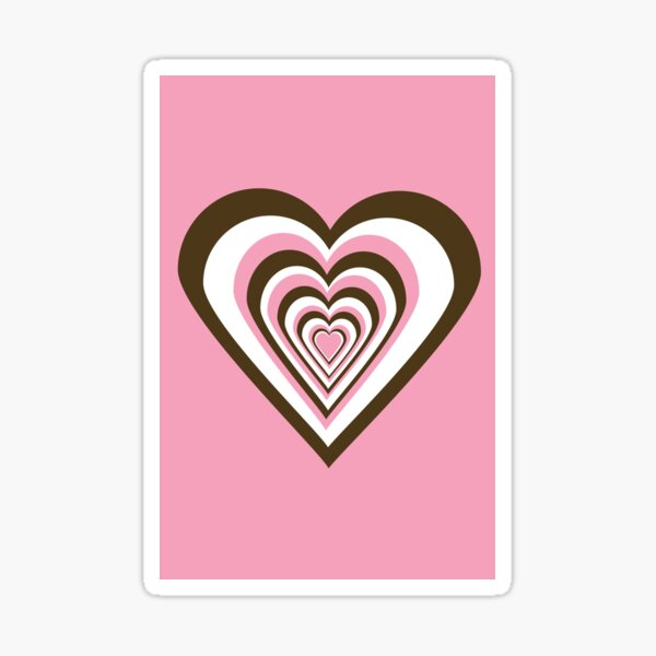 Pink, Brown and White Hearts Sticker