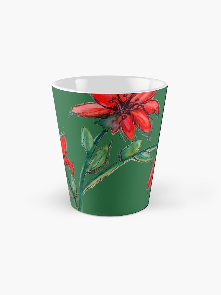 Alternate view of Red Lillies Flowers Mug