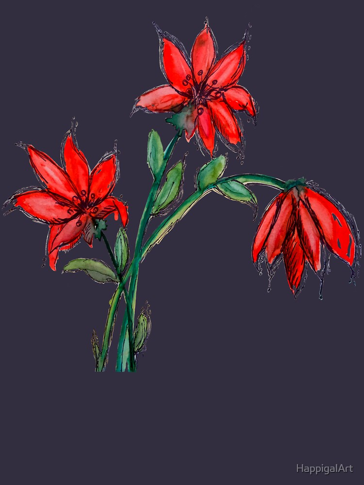 Red Lillies Flowers by HappigalArt