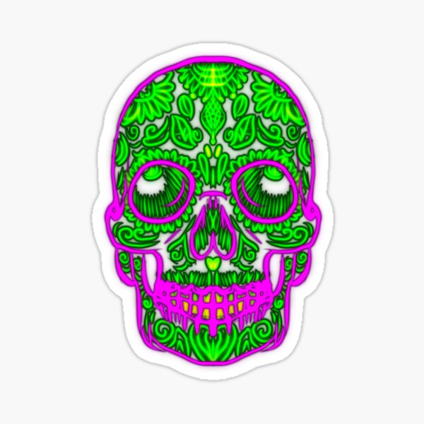 Neon Skull Art  Sticker