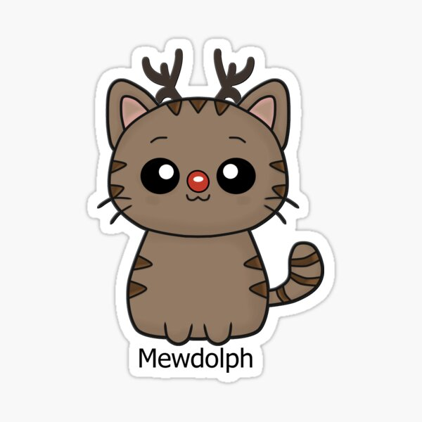 Mewdolph cat christmas rudolph (red)  Sticker