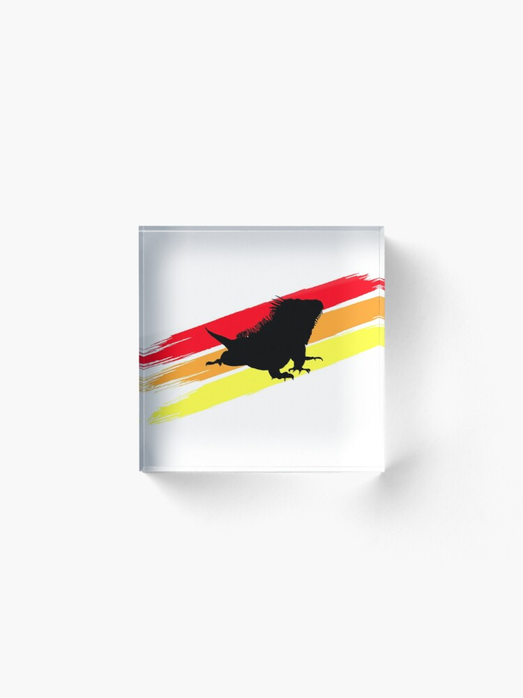 Alternate view of Colourful 3 Brush Stripe Iguana Silhouette Acrylic Block