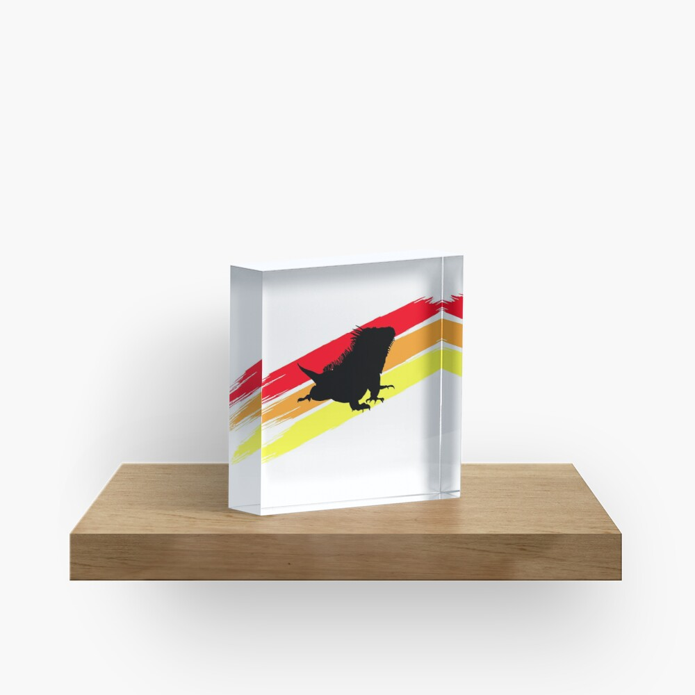 Colourful 3 Brush Stripe Iguana Silhouette Acrylic Block