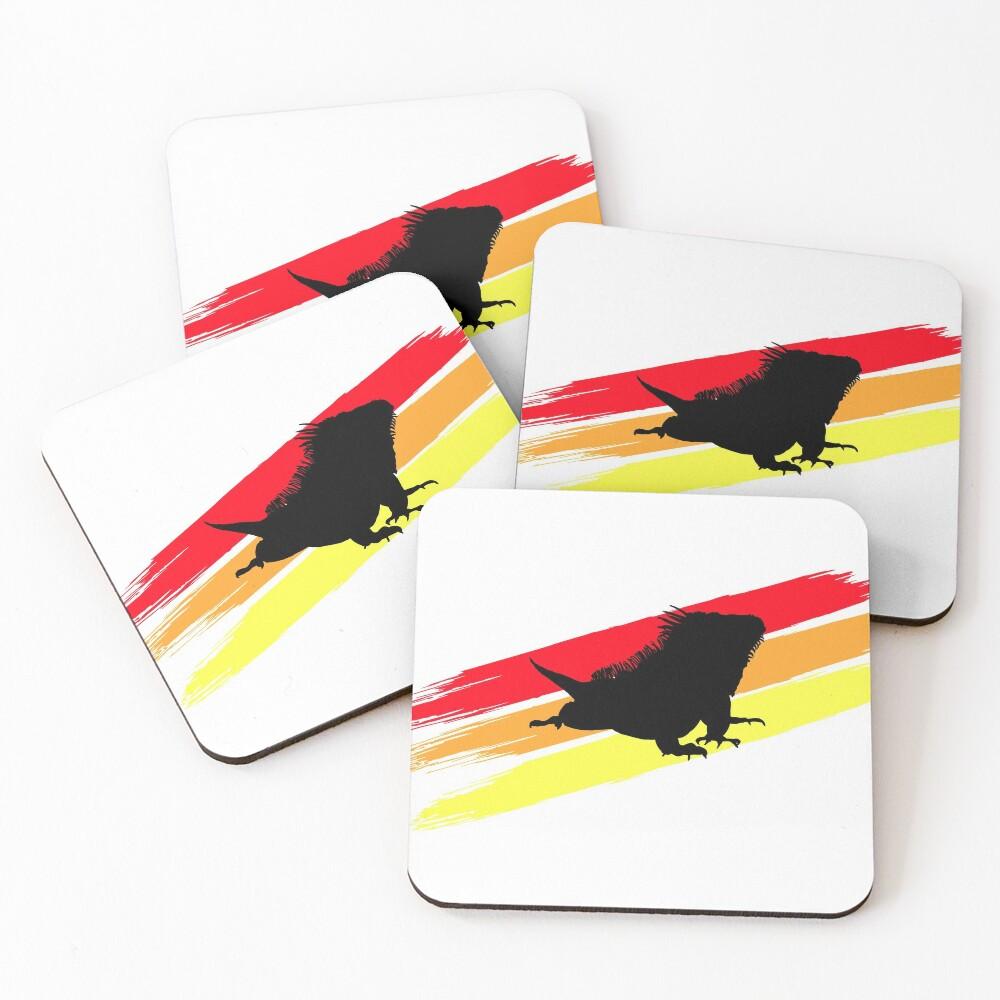Colourful 3 Brush Stripe Iguana Silhouette Coasters (Set of 4)