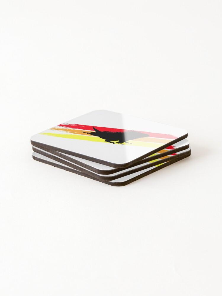 Alternate view of Colourful 3 Brush Stripe Iguana Silhouette Coasters (Set of 4)