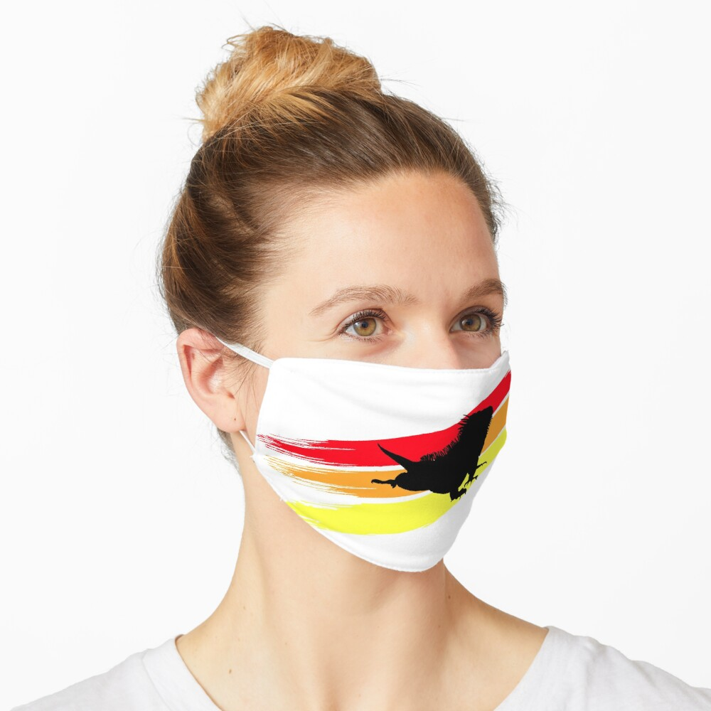 Colourful 3 Brush Stripe Iguana Silhouette Mask
