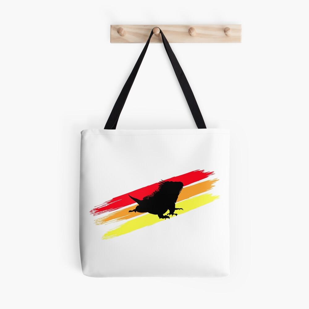 Colourful 3 Brush Stripe Iguana Silhouette Tote Bag