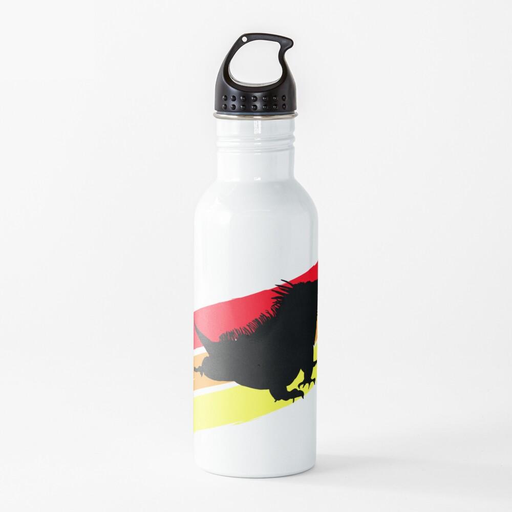 Colourful 3 Brush Stripe Iguana Silhouette Water Bottle