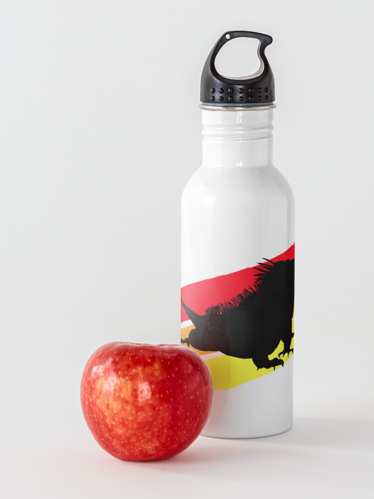 Alternate view of Colourful 3 Brush Stripe Iguana Silhouette Water Bottle