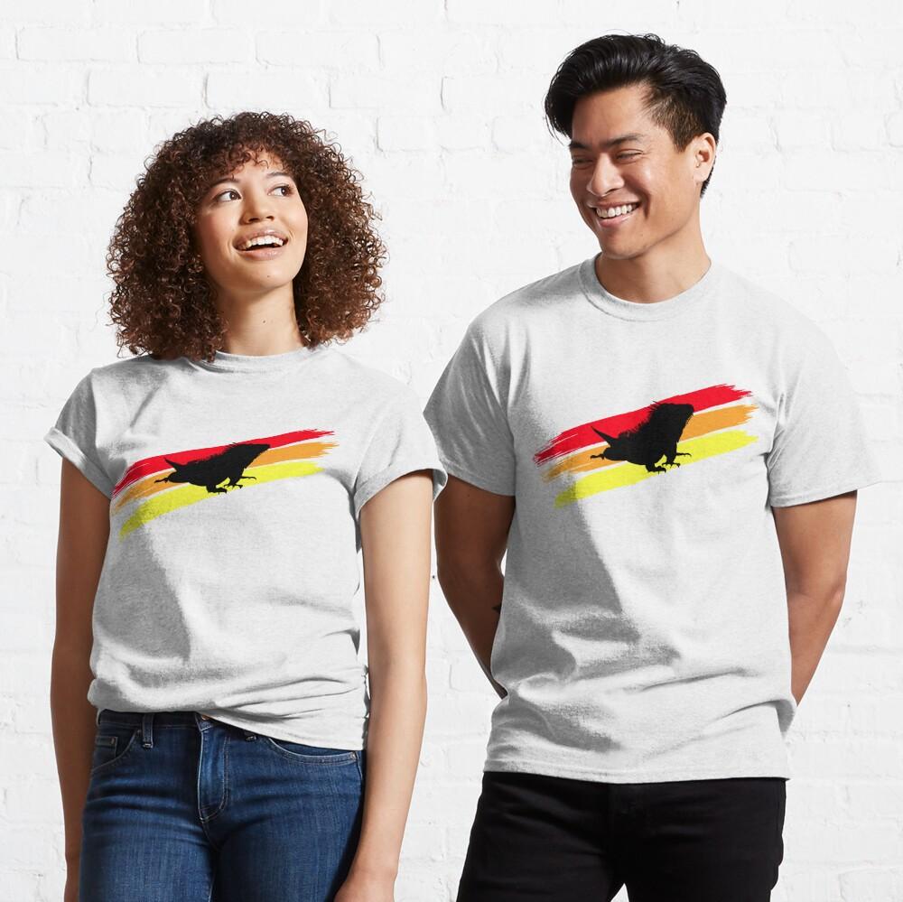 Colourful 3 Brush Stripe Iguana Silhouette Classic T-Shirt