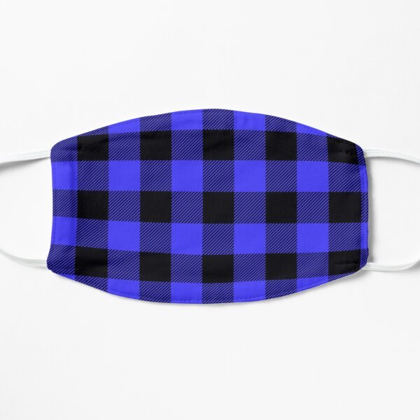 Black and blue buffalo plaid mask, buffalo plaid vintage 2021, mother's day 2021, father's day 2021, gift for loved ones 2021 Flat Mask