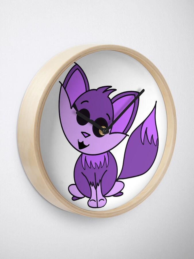 Alternate view of Cute Cool Fox Baby Purple Clock