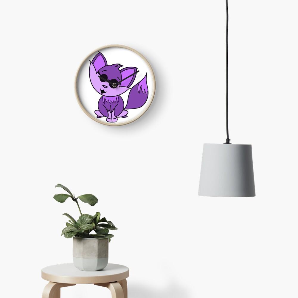 Cute Cool Fox Baby Purple Clock