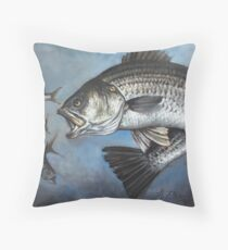 Striped Bass Chasing Bunker Throw Pillow