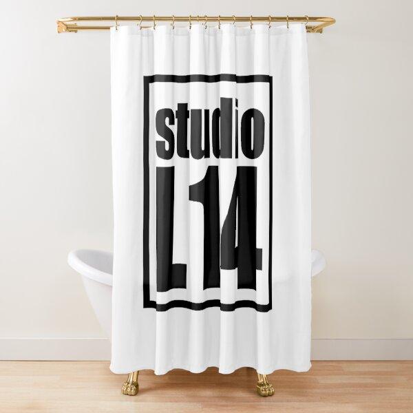 L14 Logo Black on White Shower Curtain
