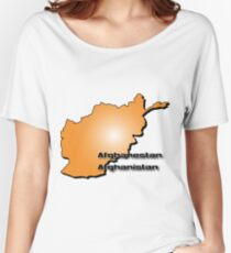 Afghanistan map in 3D Style Women's Relaxed Fit T-Shirt