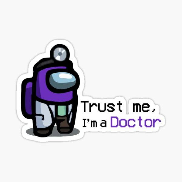 Among Us Doctor Blue Sticker By Kurraude Redbubble