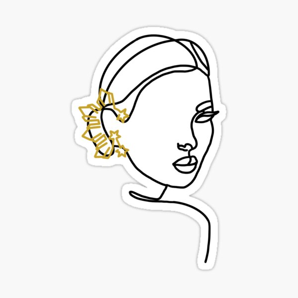 Filipina Earring Line Artwork Full Face Sticker