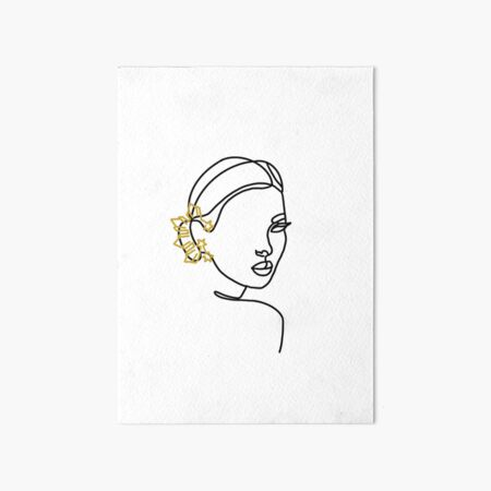 Filipina Earring Line Artwork Full Face Art Board Print
