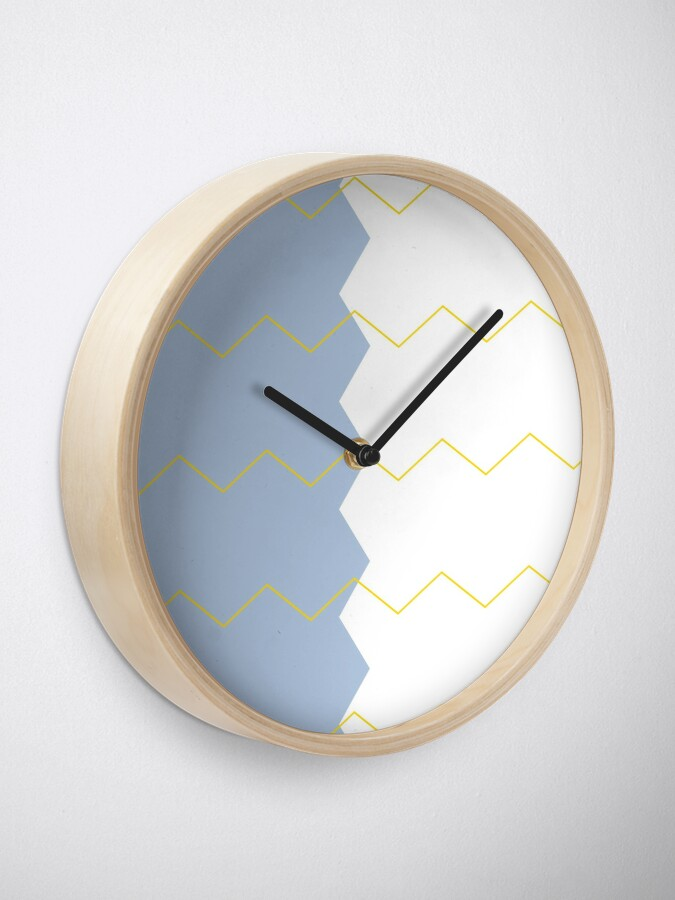 Alternate view of Zigzag split blue white and yellow Clock