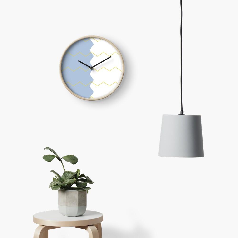 Zigzag split blue white and yellow Clock