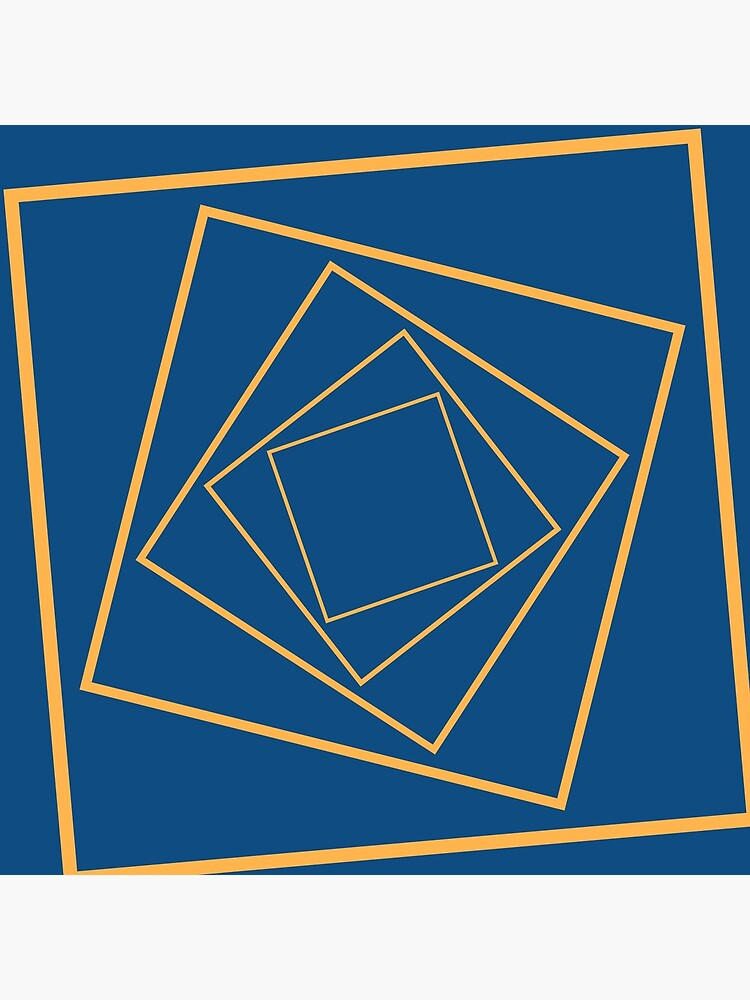 Geometric rotating squares navy and mustard by QuirkyClock