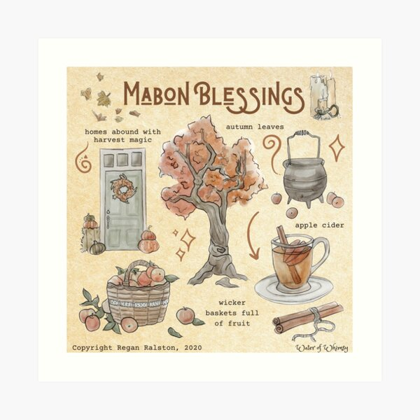 Mabon Blessings Illustration in Watercolor Art Print