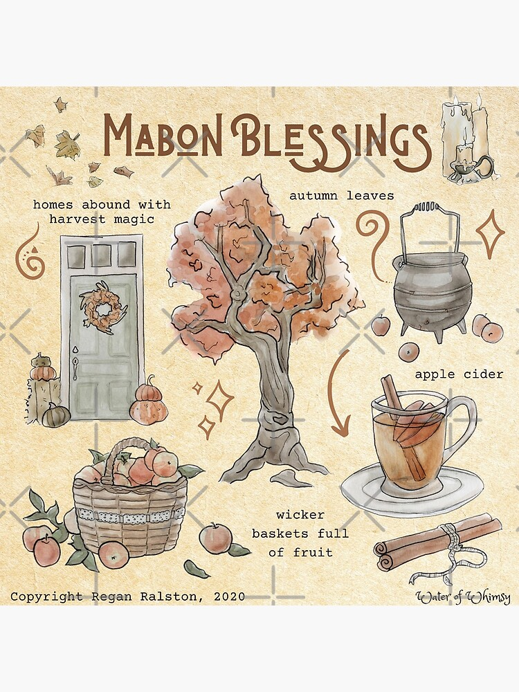 Mabon Blessings Illustration in Watercolor by WitchofWhimsy