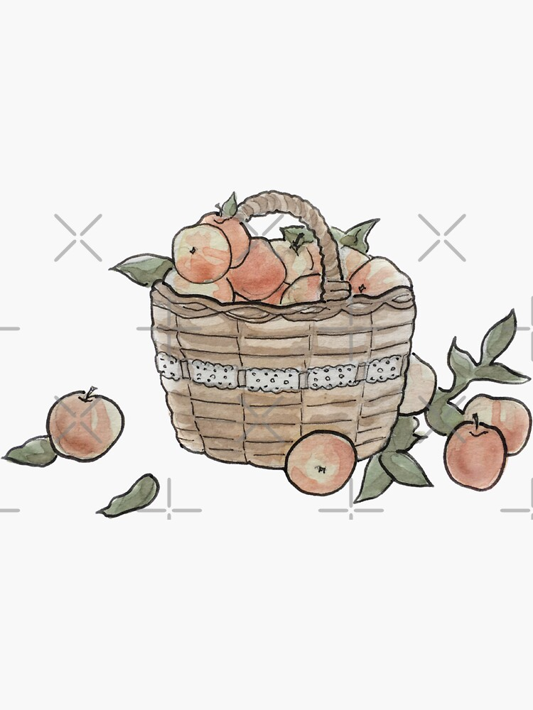 Apple Basket Illustration in Watercolor by WitchofWhimsy