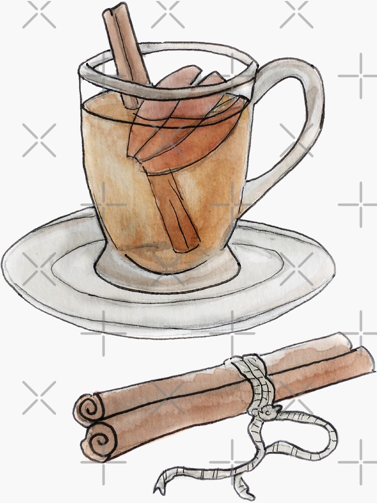 Apple Cider in a Glass Mug Illustration in Watercolor by WitchofWhimsy
