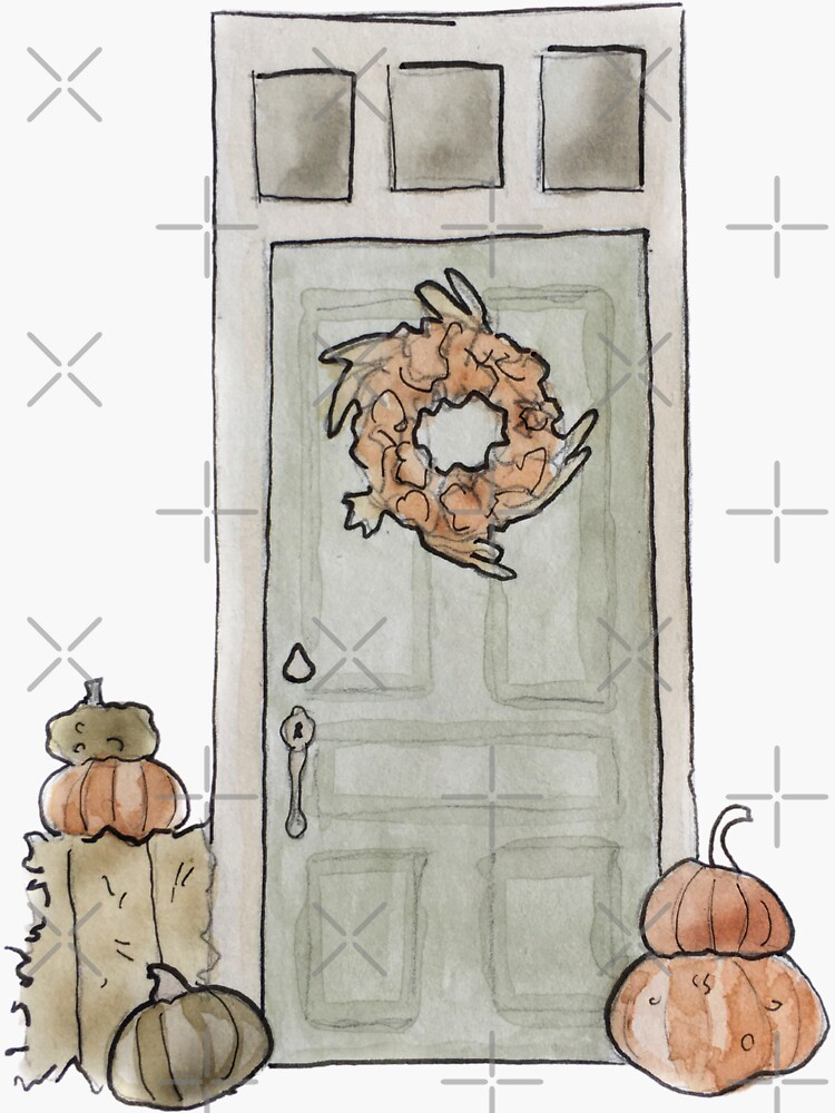 Harvest Door Illustration in Watercolor by WitchofWhimsy