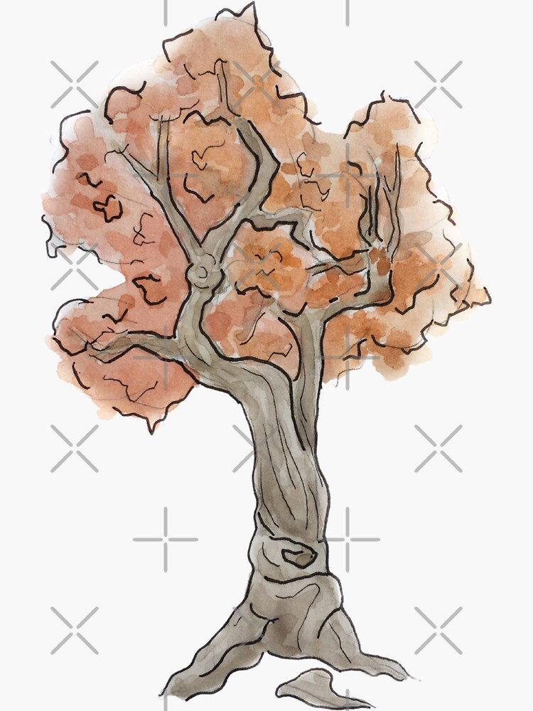 Fall Tree Illustration in Watercolor by WitchofWhimsy