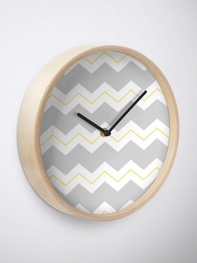 Alternate view of Chunky zigzags grey white and yellow Clock