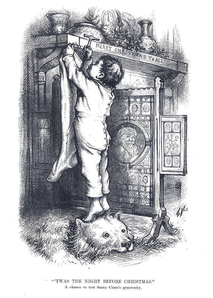 """Vintage Santa Claus Etching """"Twas The Night Before Christmas"""" by Thomas Nast by Douglas E.  Welch"""