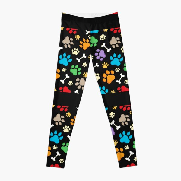 Colorful paws and white bones Leggings