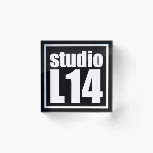 L14 Logo White on Black Acrylic Block