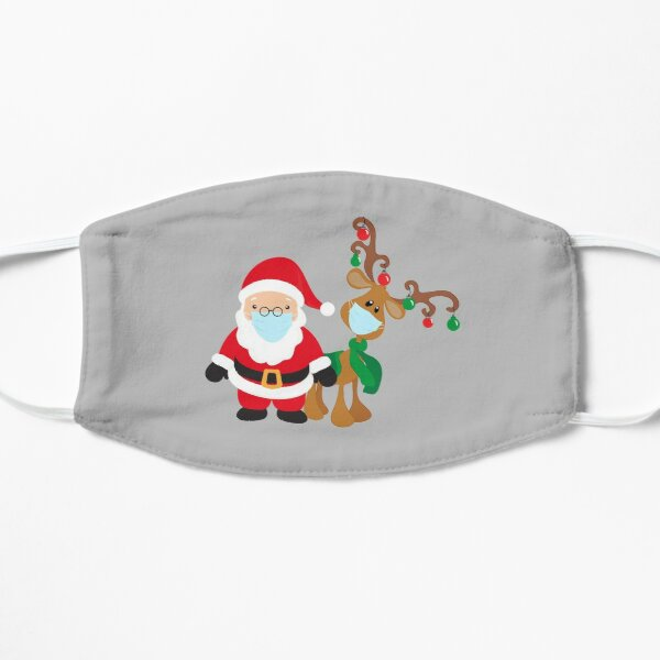 Reindeer and Santa Wearing Face Masks 2020 Christmas Flat Mask
