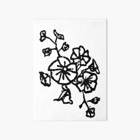 black and white flower design Art Board Print