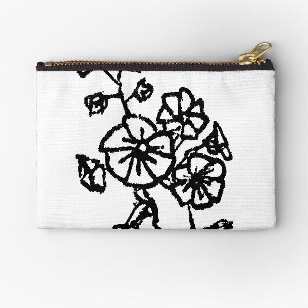 black and white flower design Zipper Pouch
